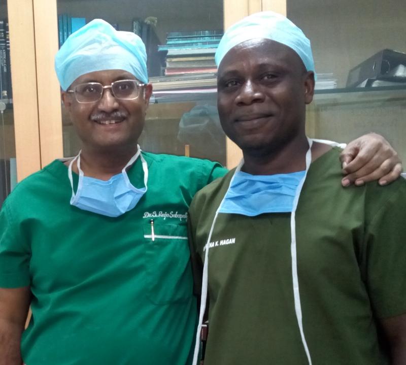 Dr Nana Hagan arrives at Ganga Hospital